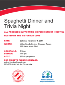 Spaghetti Dinner & Trivia Night @ Milton Sports Center | Milton | Ontario | Canada